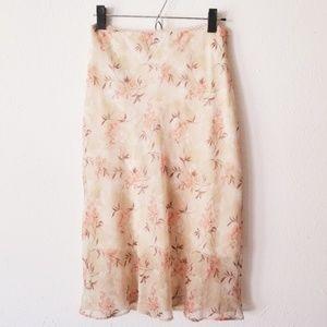 Vintage 579 Soft Coral Vines Floral Skirt 429